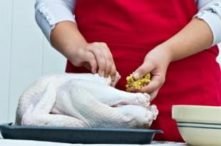 Preparing a turkey